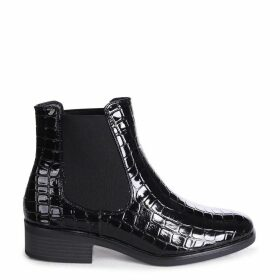 LENNI - Black Faux Croc Leather Classic Slip On Chelsea Boot