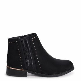 MARIELLE - Black Suede Ankle Boot with Snake & Stud Detailing