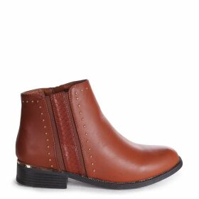 MARIELLE - Brown Nappa Ankle Boot With Studded And Snake Detail