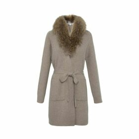 Gerard Darel Long Poeme Cardigan With Fur Collar