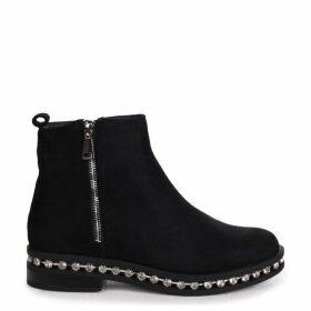 WINONA - Black Suede Chelsea Boot With False Zip & Diamante Trim Around Sole