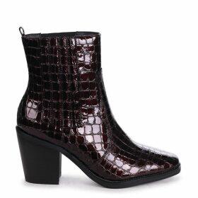 EVITA - Burgundy Patent Croc Square Toe Cowboy Boot