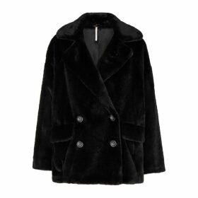 Free People Kate Black Faux Fur Coat