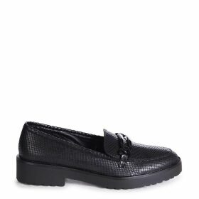 LOLITA - Black Lizard Chunky Loafer With Front Chain Detail