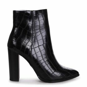 LUCY - Black Croc Ankle Boot With Stacked Block Heel