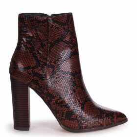 LUCY - Brown Snake Nappa Ankle Boot With Stacked Block Heel