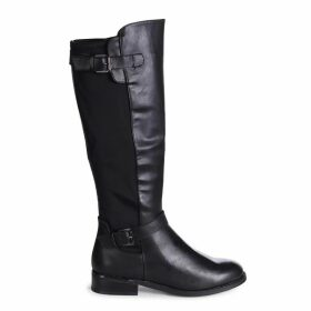 MONA - Black Nappa Riding Boot With Lycra Back