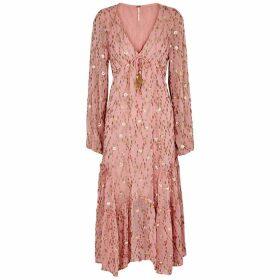 Free People Celina Embellished Fil Coupé Midi Dress