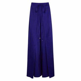 Rosetta Getty Dark Blue Satin Wide-leg Trousers