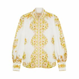 Zimmermann Super Eight White Floral-print Blouse