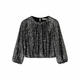 Alice + Olivia Avila Gunmetal Sequin Top