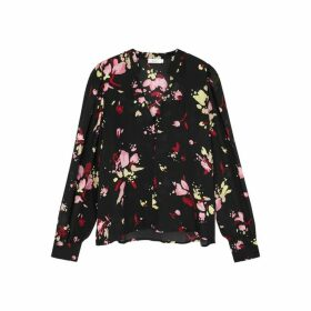 A.L.C. Rivera Black Floral-print Silk Blouse