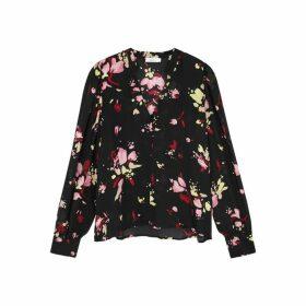 A.L.C. Rivera Black Floral-print Silk Blouse