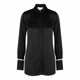 3.1 Phillip Lim Black Embellished Satin Shirt