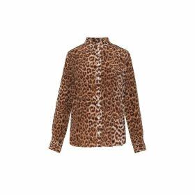 Gerard Darel Leopard-printed Silk Maye Shirt