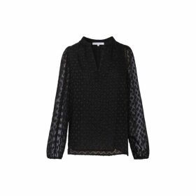 Gerard Darel Waffled Mya Top In Devore Jacquard