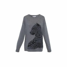 Gerard Darel Wool And Cashmere Satheen Sweater With Leopard