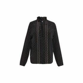 Gerard Darel Silk Moana Blouse With Mini-diamond Motif