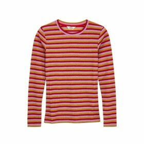 Mads Nørgaard Tuba Striped Metallic-weave Top