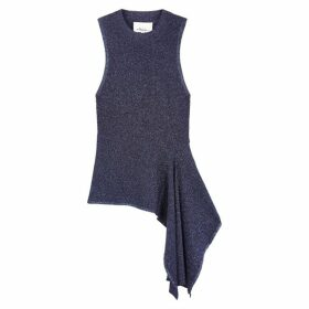 3.1 Phillip Lim Navy Asymmetric Stretch-knit Top