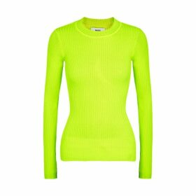 Mads Nørgaard Kastina Neon Yellow Ribbed-knit Top