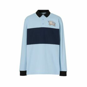 Burberry Long-sleeve Logo Graphic Cotton Pique Polo Shirt