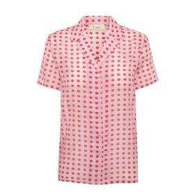 Lisou Victoire Unisex Pink Voile Lip Print Shirt
