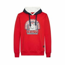 Evisu Evisu Giant Printed Color Blocking Hoodie