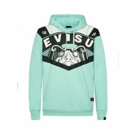 Evisu Evisu Giant Printed Loose-fit Mint Green Hoodie