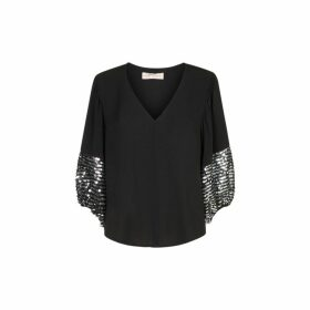 Traffic People Shoulder The Blame Sequin Shirt In Black And Silver