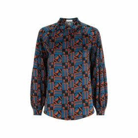 Traffic People Silence Satin Long Sleeve Shirt In Blue And Rust