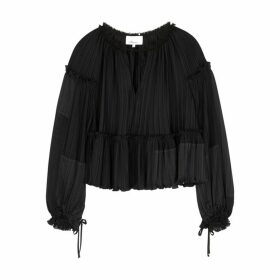 3.1 Phillip Lim Black Plissé Satin Blouse