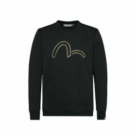 Evisu Rope-effect Seagull Embroidery Sweatshirt