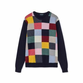 Hackett Multi-coloured Square Print Wool And Cotton Crew Neck Sweater