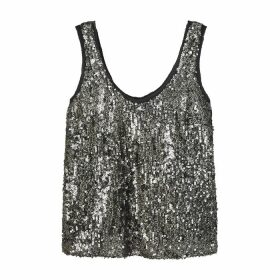 Velvet By Graham & Spencer Leyla Grey Sequin-embellished Top