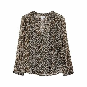 Velvet By Graham & Spencer Peyton Leopard-print Metallic-weave Blouse