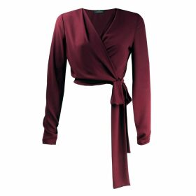Me & Thee - Canteen Culture Red Wine Georgette Wrap Blouse