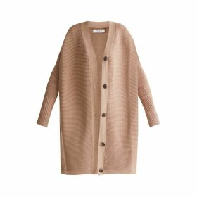 PAISIE - Oversized Ribbed V-Neck Cardigan In Beige