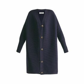 PAISIE - Oversized Ribbed V-Neck Cardigan In Navy