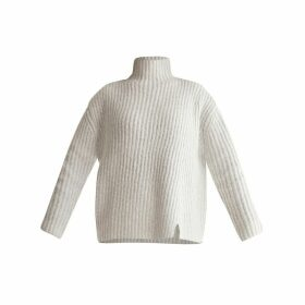 PAISIE - Funnel Neck Chunky Knit Jumper With Wide Ribs In Off White Marl