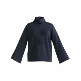 PAISIE - Roll Neck Oversized Jumper With Wide Sleeves In Navy