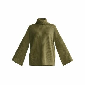 PAISIE - Roll Neck Oversized Jumper With Wide Sleeves In Green