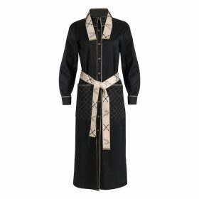 PAISIE - Two Tone Ribbed Polo Neck Jumper With Side Splits In Charcoal & Black