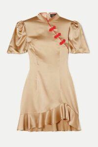 De La Vali - Bluebell Appliquéd Ruffled Satin-twill Mini Dress - Gold
