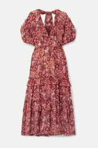 Ulla Johnson - Amora Ruffled Floral-print Cotton-blend Voile Midi Dress - Red