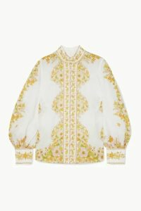 Zimmermann - Super Eight Floral-print Ramie Blouse - White