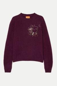 Le Lion - Scorpio Embellished Embroidered Wool Sweater - Burgundy