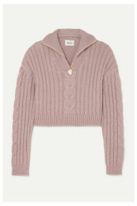 Nanushka - Eria Cropped Faux Pearl-embellished Cable-knit Sweater - Blush