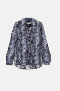 L'Agence - Nina Snake-print Crepe Shirt - Blue