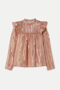 Ulla Johnson - Leopold Ruffled Striped Silk And Lurex-blend Chiffon Blouse - Antique rose